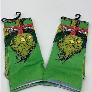 New Adult Knee High Socks GREEN GRINCH